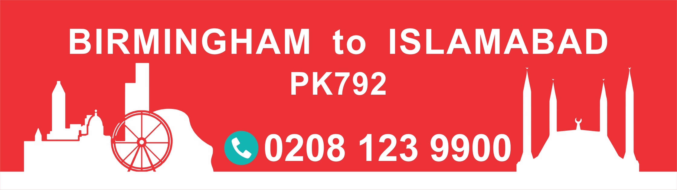 Birmingham to Islamabad PIA Flight PK792 Departure Time